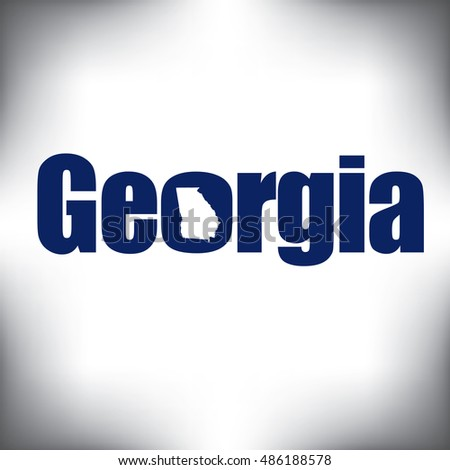 The Georgia shape is within the Georgia name in this state graphic