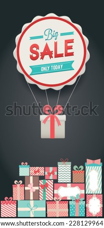 The gift box flying on red sale parachute. Illustration vector - stock vector