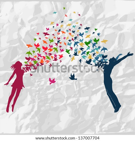 The girl and boy jumping with swarm of birds. - stock vector
