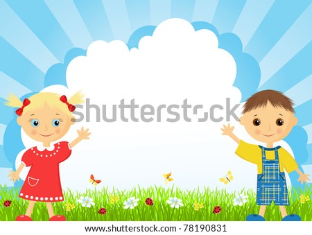 The girl and the boy on a meadow. Vector illustration. - stock vector
