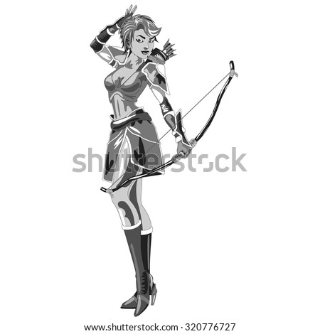 the girl Archer in a suit with bow in hand on white background