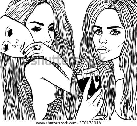The girl drinks wine isolated on white background. Feelings, emotions without a mask. Girls with a glass of red wine. Vector black and white illustration. Black eyes.