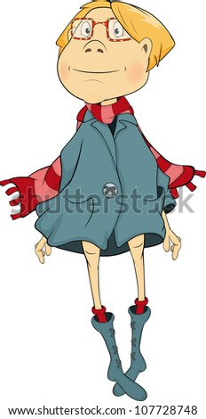 The girl in a coat cartoon