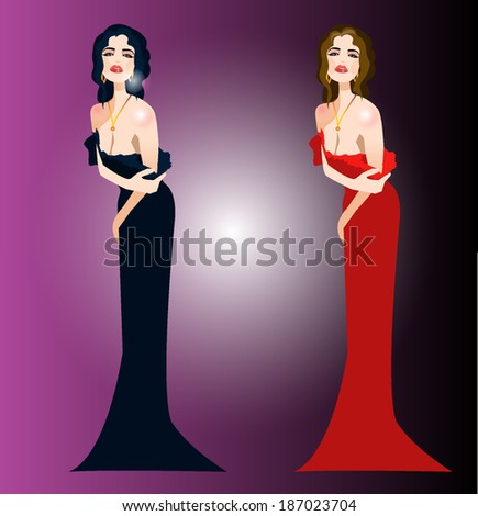 the girl in an evening dress - stock vector