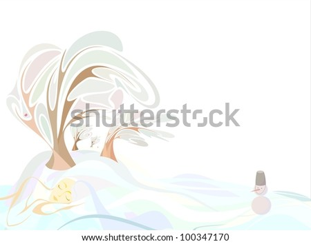 the girl in the form of land in the winter sleeping trees, field - stock vector