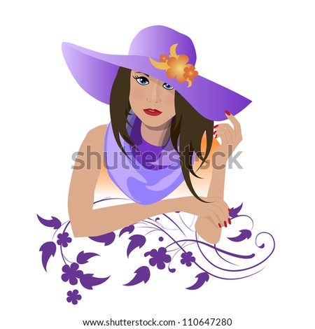 The girl in the purple hat - stock vector