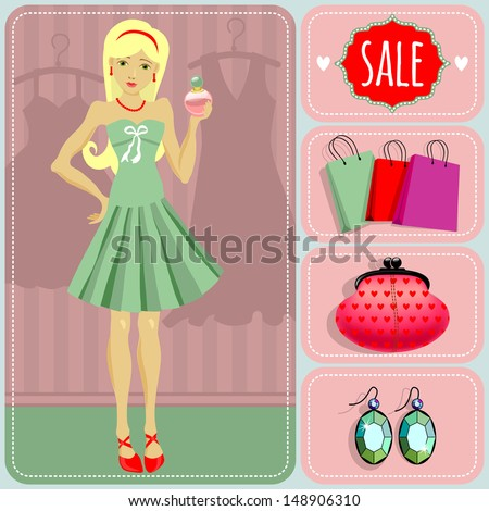 The girl in the store on sale. Shopping - stock vector