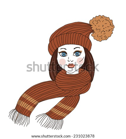 The girl in winter clothes - Illustration