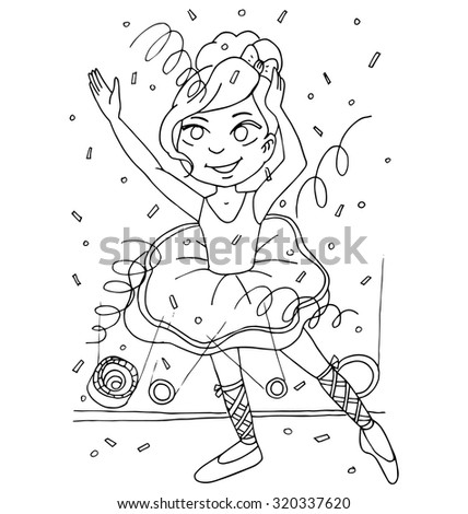 the girl is engaged in ballroom dancing outline cartoon hand drawing  for coloring isolated on the white background - stock vector