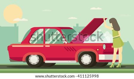 The girl is looking at broken motor. Flat vector. - stock vector