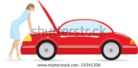 The girl is looking at broken motor. Isolated on white. - stock vector