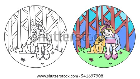 Girl On Lawn Near Forest Dog Stock Vector 541697542 - Shutterstock