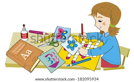 The girl sits at a desk. On a desk there is a dictionary, scissors, glue, color pencils. Girl makes a crossword puzzle. Illustration done in cartoon style. - stock vector