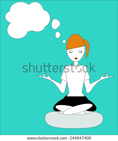 the girl sitting in the Lotus posture, practicing yoga, meditation and dream about something - vector - stock vector