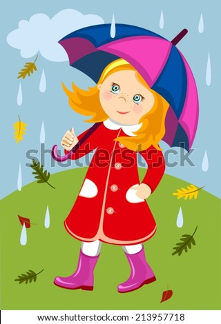 The girl walking with  under an umbrella in the rain in autumn. A little girl walking in rain with umbrella. - stock vector