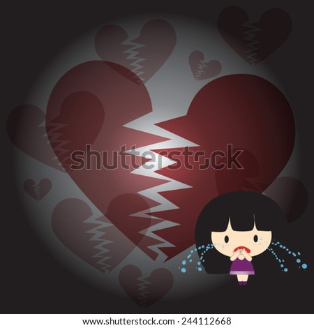 The girl was crying heartbreak of love. - stock vector