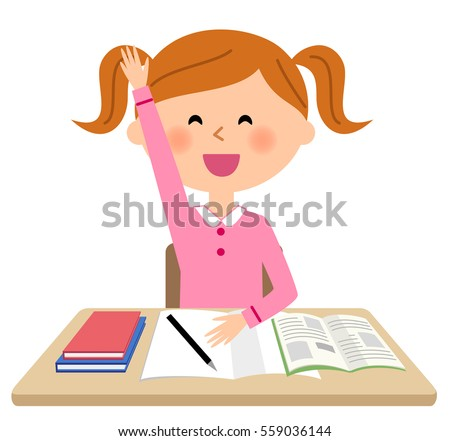 The girl who studies,Raising hands