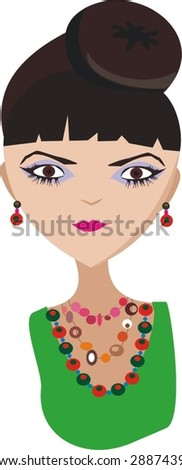 The girl with a beads - stock vector