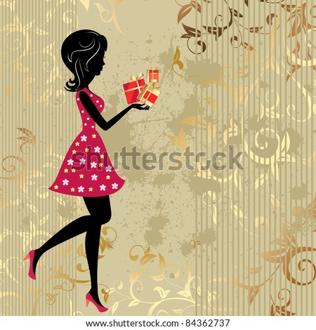 The girl with presents on a gold background citizens - stock vector