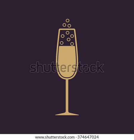 The glass of champagne icon. Wine symbol. Flat Vector illustration