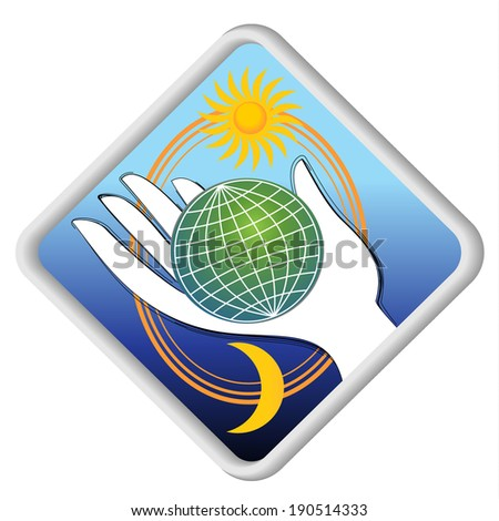 The globe in the palm - eco symbol with sun and moon
