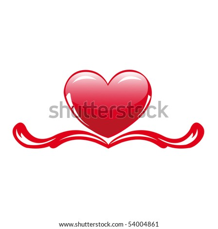 The glossy heart in decor - stock vector