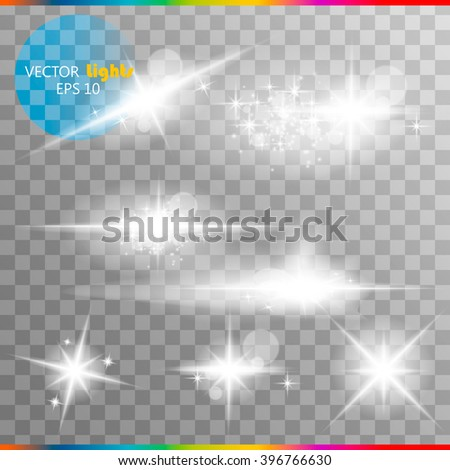 The glow of a special effect of light flash, the star and blast. Isolated spark on a transparent background. Set - stock vector