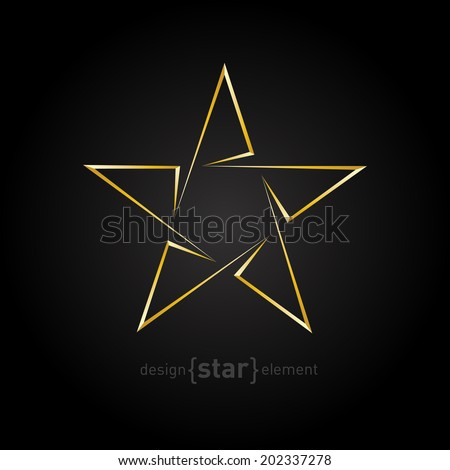 The Gold Abstract vector star on black background. Corporate logo template - stock vector