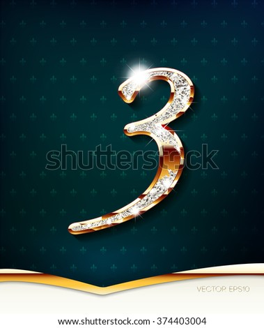 The gold inlaid figure 3 (three), with shadow and highlights. eps10 - stock vector