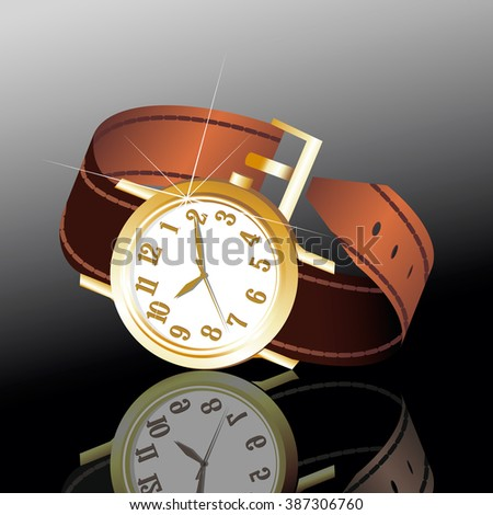 The gold luxury wristwatches with leather strap vector