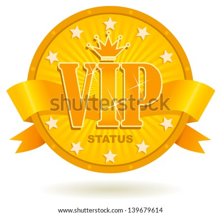 the Golden badge of the honorable VIP client - stock vector