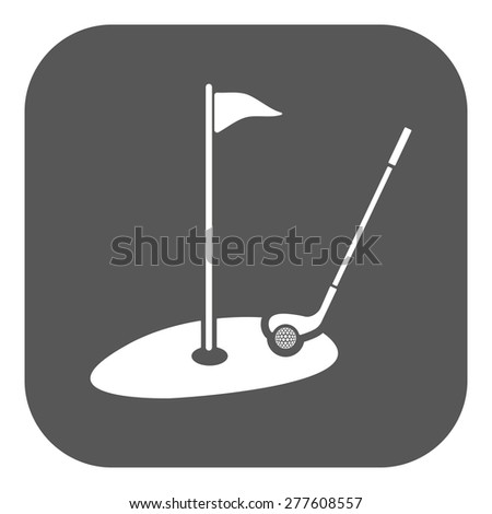 The golf icon. Sport symbol. Flat Vector illustration. Button