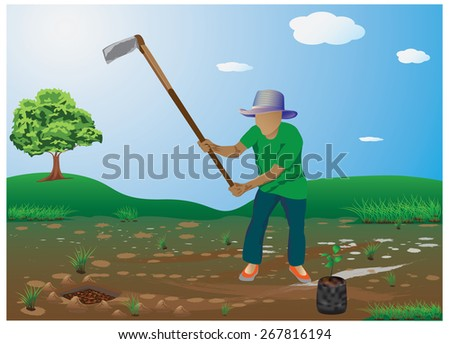 the good man digging for planting trees vector design - stock vector