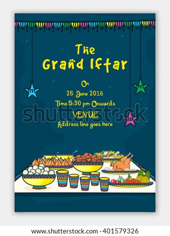 Grand iftar invitation card design illustration stock vector the grand iftar invitation card design with illustration of delicious food stopboris Images