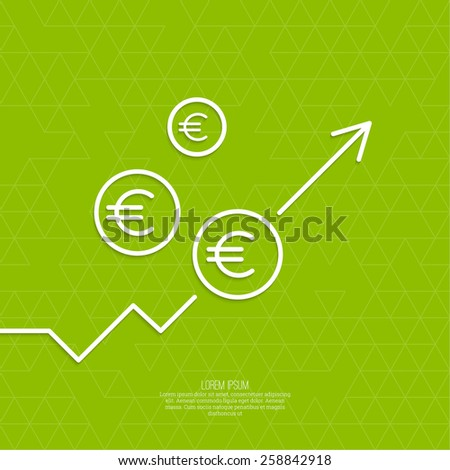 The graph shows the growth and profit. Income from a successful investment. Bank asset growth through profitable investments. green background. euro symbol - stock vector