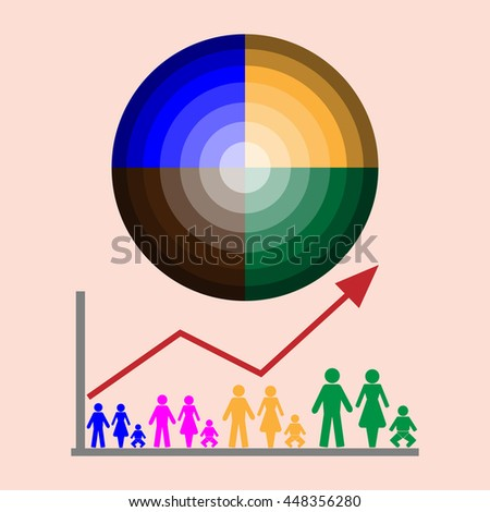The graph shows the increase in world population . - stock vector