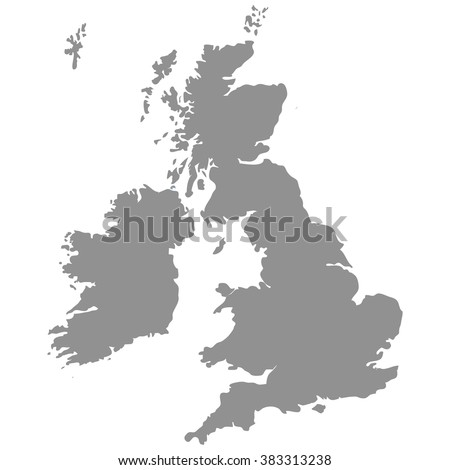 The Great Britain map in gray on a white  background - stock vector