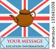 The Great British Tea Pot, vector background with a teapot over a UK Union Jack - stock vector