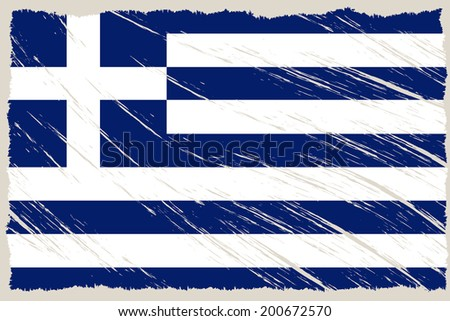 the greek flag with some grunge textures - stock vector