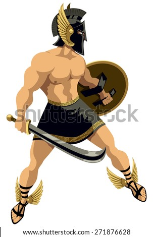 The Greek hero Perseus. No transparency and gradients used. - stock vector