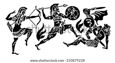 The Greek soldier background - stock vector