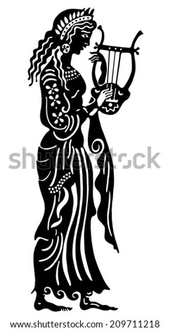 The Greek woman with lira - stock vector