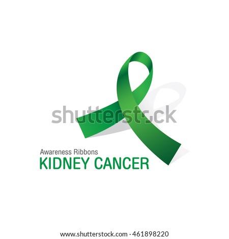 green awareness ribbons kidney cancer vector stock vector 461898220
