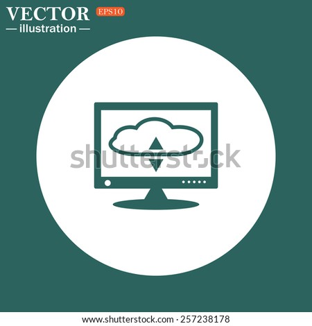 The green icon on a white circle on a green background. cloud storage on the computer, vector illustration, EPS 10 - stock vector