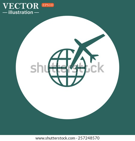The green icon on a white circle on a green background. Fashion Icon aircraft around the world, vector illustration, EPS 10 - stock vector