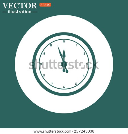 The green icon on a white circle on a green background. mechanical clock. Vector illustration, EPS 10  - stock vector