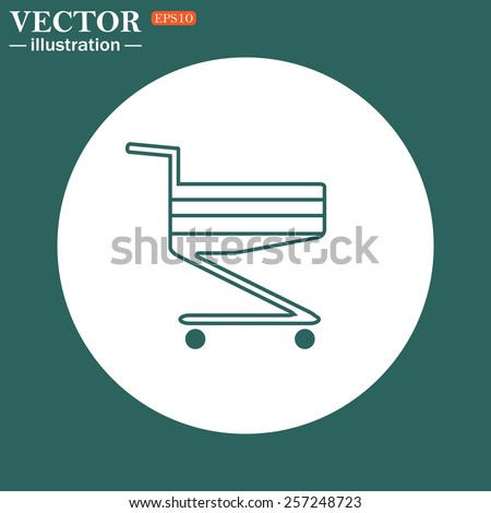 The green icon on a white circle on a green background. Shoping basket , vector illustration, EPS 10