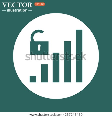 The green icon on a white circle on a green background. signal strength indicator, open access , vector illustration, EPS 10 - stock vector