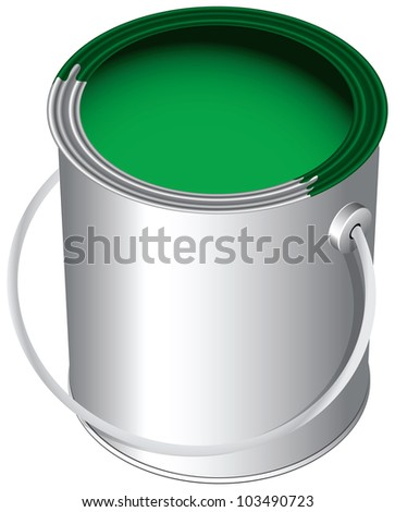 The green paint in the pot, the standard package. Vector illustration.