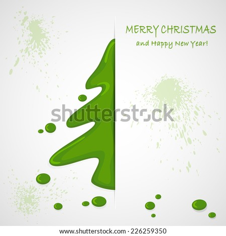 The green painted Christmas tree on a grunge background, illustration. - stock vector